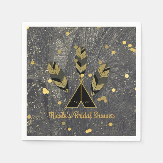 Hand Drawn Feather & Tepee Gold Black Boho Glam Paper Napkins