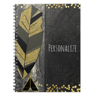 Hand Drawn Feather & Tepee Gold Black Boho Glam Spiral Notebook