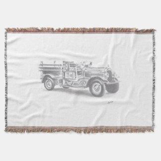 hand drawn fire truck blanket