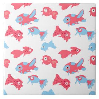 Hand drawn fishes tile