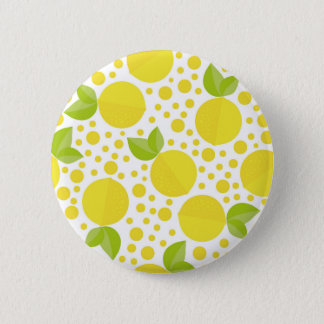 Hand drawn floral elements & lemons 2 inch round button