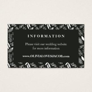 Hand Drawn Floral Illustration Wedding Information Business Card