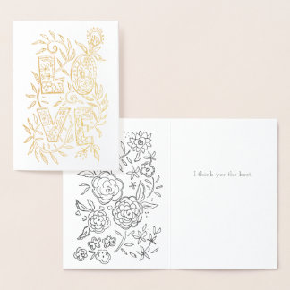 Hand Drawn Floral LOVE Valentine Foil Card