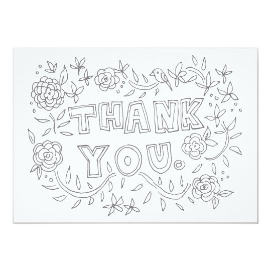 Hand Drawn Floral Thank You Colouring Card