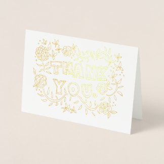 Hand Drawn Floral Thank You Foil Card