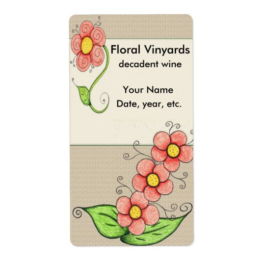 Hand Drawn Floral Wine Labels