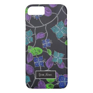 Hand drawn flower butterflies & leaves black iPhone 7 case