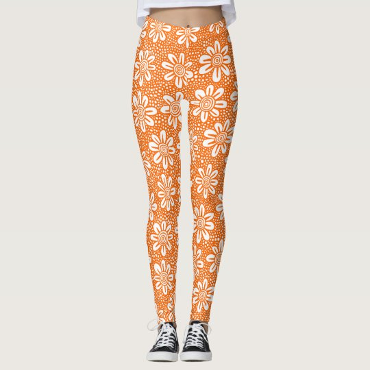 Hand Drawn Flower Pattern 140617 - Orange Leggings
