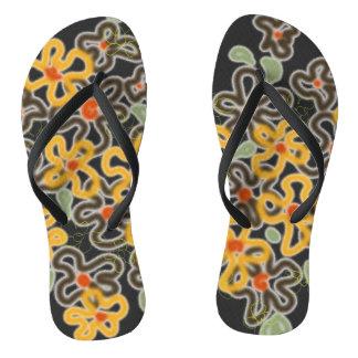 Hand-drawn flowerbed squiggles flip flops