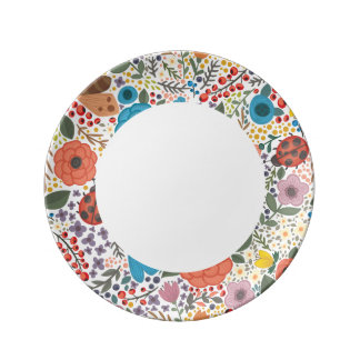 Hand drawn Flowers and Lady Bugs Porcelain Plates