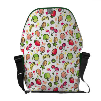 hand drawn fruits pattern courier bag