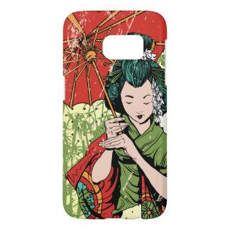 Hand Drawn Geisha Girl With Umbrella Samsung Galaxy S7 Case