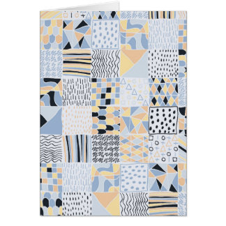 Hand Drawn Geometric Squares Greetings Card