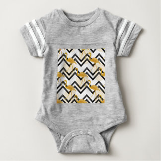 Hand drawn gold flamingo with chevron background baby bodysuit