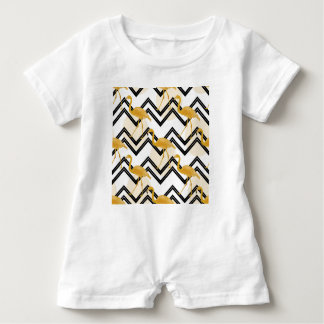 Hand drawn gold flamingo with chevron background baby romper