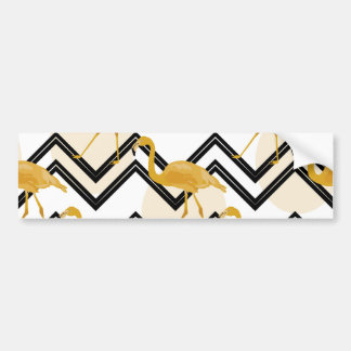 Hand drawn gold flamingo with chevron background bumper sticker