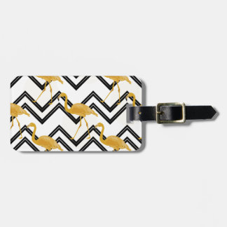 Hand drawn gold flamingo with chevron background luggage tag