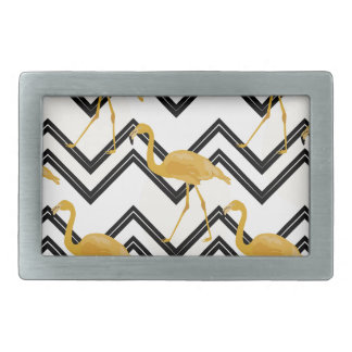 Hand drawn gold flamingo with chevron background rectangular belt buckles