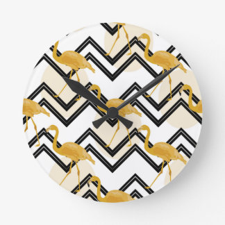 Hand drawn gold flamingo with chevron background round clock