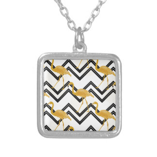 Hand drawn gold flamingo with chevron background silver plated necklace