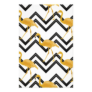 Hand drawn gold flamingo with chevron background stationery