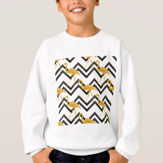 Hand drawn gold flamingo with chevron background sweatshirt