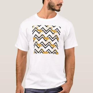 Hand drawn gold flamingo with chevron background T-Shirt
