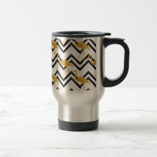 Hand drawn gold flamingo with chevron background travel mug