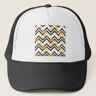 Hand drawn gold flamingo with chevron background trucker hat