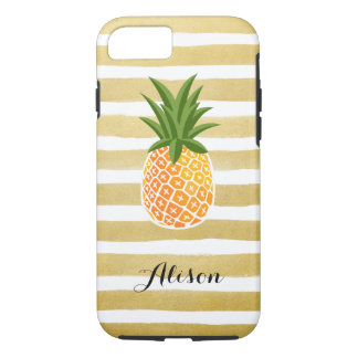 Hand Drawn Gold Stripes Pineapple Monogram Name Case-Mate iPhone Case
