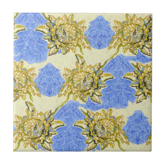 Hand Drawn Golden Flowers with blue background Ceramic Tile