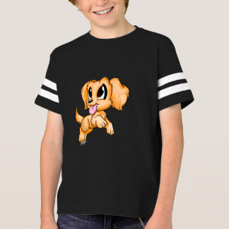 Hand Drawn Golden Retriever Dog Kid's Football Tee
