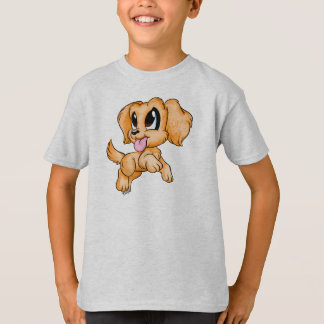 Hand Drawn Golden Retriever Dog Kid's Grey Shirt