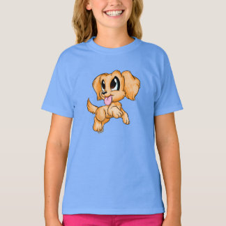Hand Drawn Golden Retriever Girl's Blue T-shirt