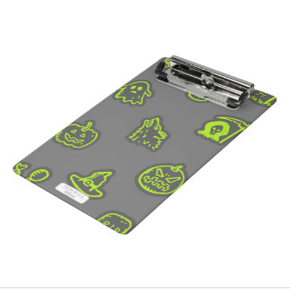 Hand Drawn Halloween Pattern Green and Grey