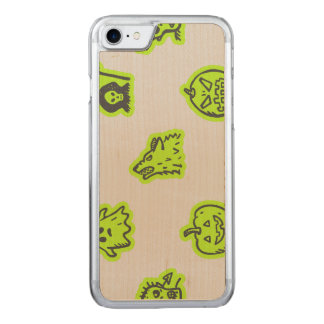 Hand Drawn Halloween Pattern Grey on Green Carved iPhone 7 Case