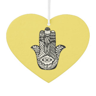 Hand Drawn Hamsa Hand of Fatima on Yellow Air Freshener