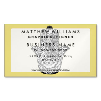 Hand Drawn Hamsa Hand of Fatima on Yellow Business Card Magnet