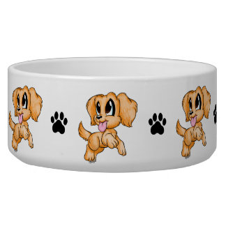 Hand Drawn Hand Colored Cute Dog Bowl for Pets