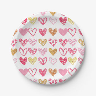 Hand Drawn Heart Pattern ID470 Paper Plate