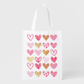 Hand Drawn Heart Pattern ID470 Reusable Grocery Bag