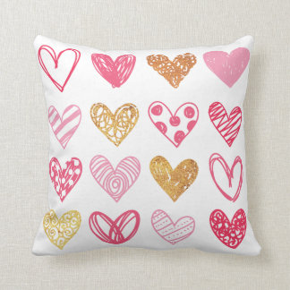 Hand Drawn Heart Pattern ID470 Throw Pillow