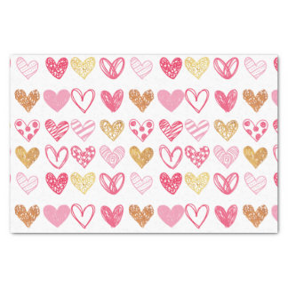 Hand Drawn Heart Pattern ID470 Tissue Paper