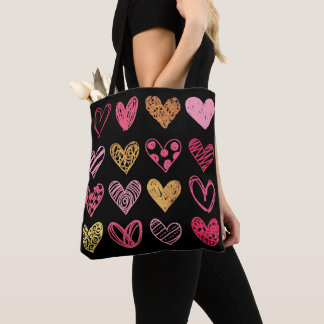 Hand Drawn Heart Pattern ID470 Tote Bag