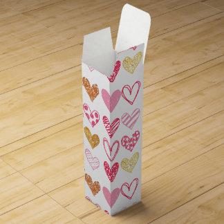 Hand Drawn Heart Pattern ID470 Wine Gift Box