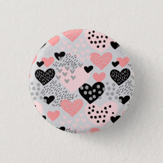 Hand Drawn Hearts and Dots Pattern ID471 1 Inch Round Button