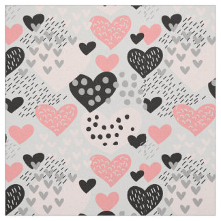 Hand Drawn Hearts and Dots Pattern ID471 Fabric