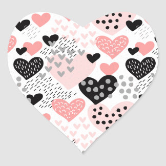 Hand Drawn Hearts and Dots Pattern ID471 Heart Sticker