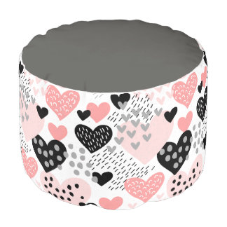 Hand Drawn Hearts and Dots Pattern ID471 Pouf