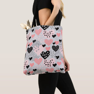 Hand Drawn Hearts and Dots Pattern ID471 Tote Bag